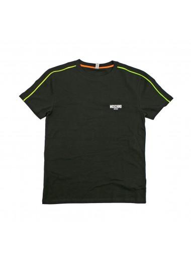 Black t-shirt with piping, Moschino Swim